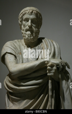 Marble statue of the Philosopher or Homer from Herculaneum in the National Archaeological Museum in Naples, Italy. - Stock Photo