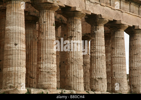 Doric temple of Hera from about 450 BC, formerly incorrectly attributed as the Temple of Poseidon or Apollo, in - Stock Photo