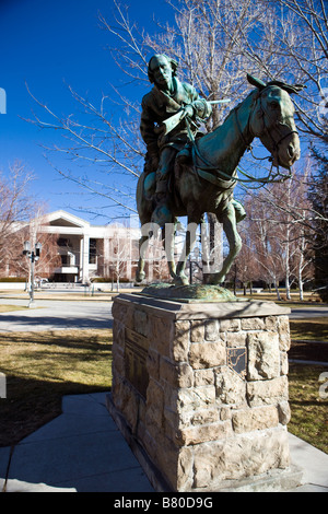Statue of Kit Carson on a horse in front of the Nevada State Supreme Court Carson City Nevada - Stock Photo