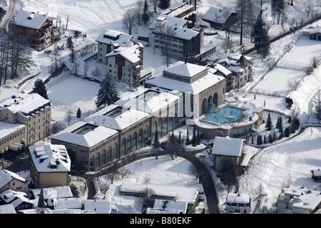 Aerial view of Lindner Alpentherme thermal spa, Leukerbad, Switzerland