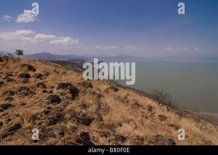 Lake Chamo in the Nechisar National Park Ethiopia Africa - Stock Photo