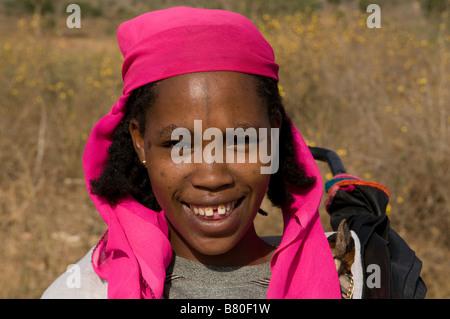 Girl from the Kori tribe smiling Nechisar National Park Ethiopia Africa - Stock Photo