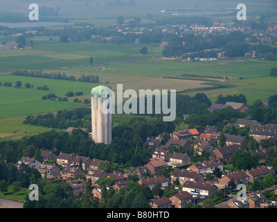 Aerial view of water tower in art deco jugendstil style Noord Brabant the Netherlands - Stock Photo