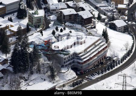 Aerial view of Burgerbad thermal spa, Leukerbad, Switzerland