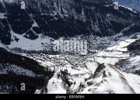 Aerial view of Leukerbad, Switzerland