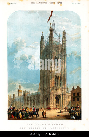 The Victoria Tower Houses of Parliament 1859 print of the newly completed seat of British government - Stock Photo