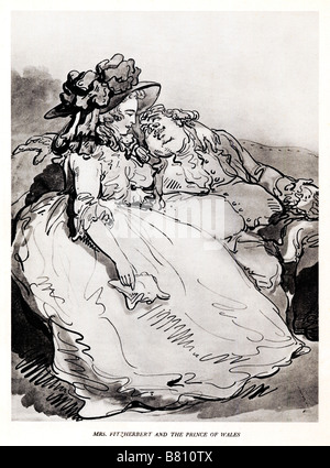 Mrs Fitzherbert and the Prince of Wales Thomas Rowlandson caricature of the future George IV and his mistress and - Stock Photo
