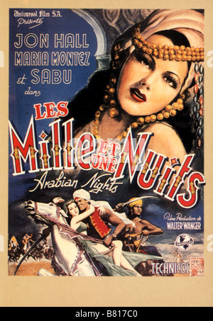 Les mille et nuits  Year: 1942 -  Arabian Nights  Year: 1942 USA Maria Montez Affiche, Poster  Director: John Rawlins - Stock Photo