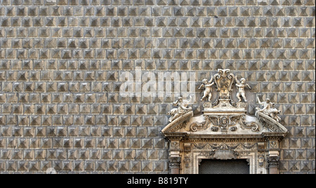Palazzo Sanseverino, Chiesa del Gesu Nuovo, , rusticated facade and broken pediment, Naples. - Stock Photo
