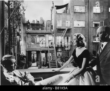 Rear Window Year: 1954 USA Director: Alfred Hitchcock James Stewart, Grace Kelly, Alfred Hitchcock Shooting picture - Stock Photo