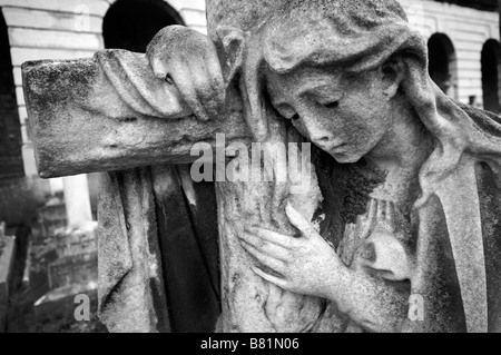 Statue of Angel, Brompton Cemetery, London, UK - Stock Photo