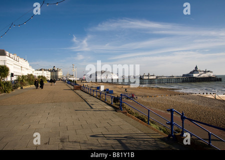 The Promonade and Eastbourne Pier in East Sussex GB UK - Stock Photo