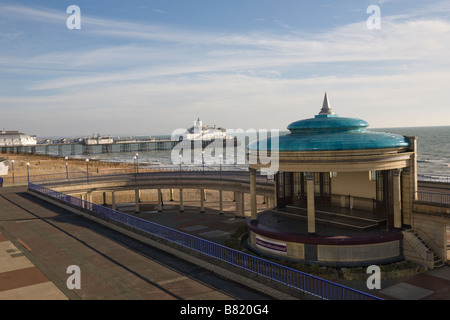 The Promonade, band stand and Eastbourne Pier in East Sussex GB UK - Stock Photo