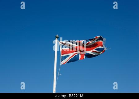 Union flag at Land s End Penwith peninsula Cornwall England United Kingdom - Stock Photo