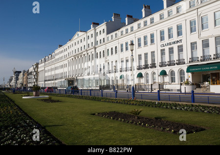 Hotels, Grand Parade and seafront gardens in Eastbourne East Sussex England GB UK - Stock Photo
