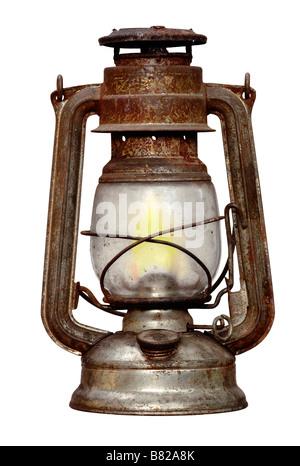 antique time-worn kerosene lamp - Stock Photo