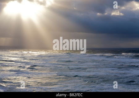 24 january 2009 KLaus storm in Biarritz Basques coast Pays Basque France - Stock Photo