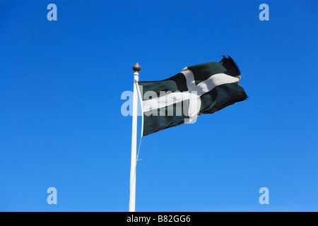 Flag of Cornwall Land s End Penwith peninsula Cornwall England United Kingdom - Stock Photo