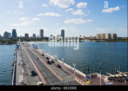 View of downtown skyline from St Petersburg Pier, St Petersburg, Gulf Coast, Florida, USA - Stock Photo