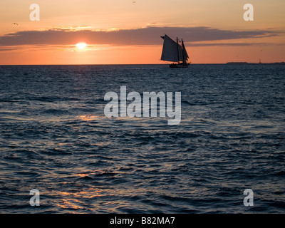 Sailboat loaded with tourists chases sunset just off Mallory Square Key West Florida - Stock Photo