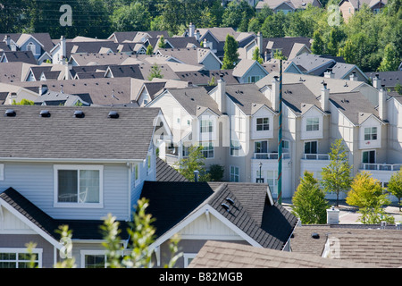 High angle view of a housing development in Issaquah WA United States - Stock Photo