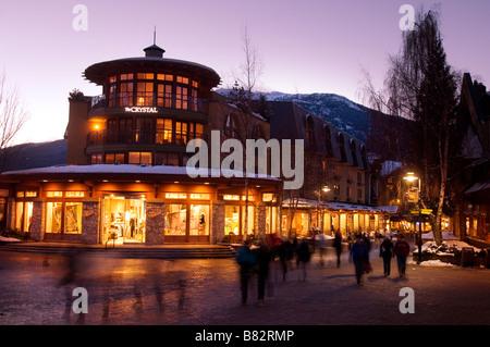 Whistler Village at sunset - Stock Photo