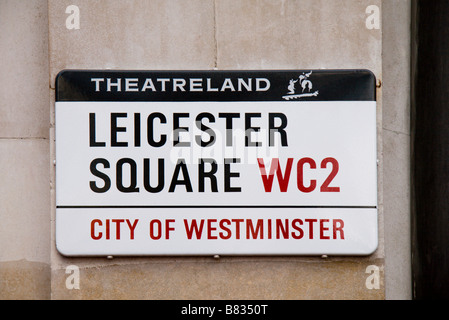 Street sign for Leicester Square, Westminster, London.  Jan 2009 - Stock Photo
