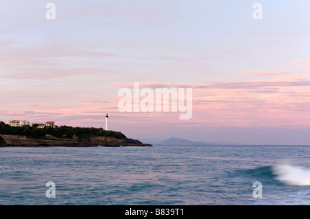 Dawn on the Chambre d Amour beach in Anglet France - Stock Photo