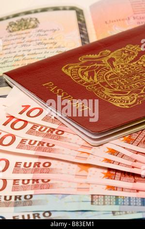 United Kingdom UK British passport and Euro banknotes Brexit concept - Stock Photo
