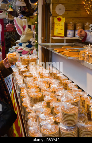 Syrup waffles at Christmas market in Old Town Prague Czech Republic Europe - Stock Photo