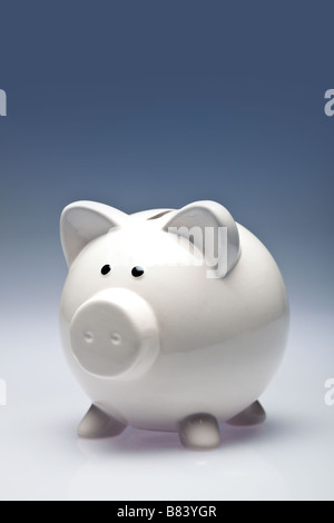 White piggy bank - Stock Photo