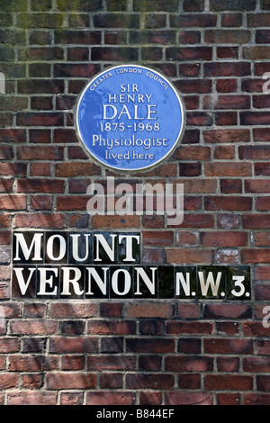 Blue Plaque marking home of Physiologist Sir Henry Dale, Swiss Cottage, London - Stock Photo