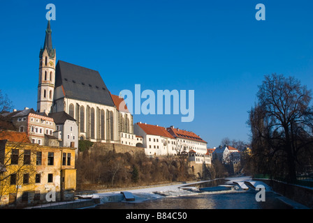 St Vitus Cathedral and Hotel Ruze by River Vltava in Cesky Krumlov Czech Republic Europe - Stock Photo