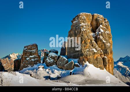 Le Cinque Torri, Dolomites, Cortina D'Ampezzo, Veneto, Italy Dolomiti Italian Alps Alpi - Stock Photo