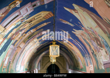 Archway murals and lantern in Kykkos Monastery,Troodos mountains, South Cyprus. - Stock Photo