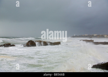24 january 2009 KLaus storm in Biarritz Pays Basque France - Stock Photo