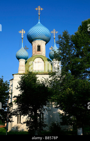 Small orthodox church with blue onion domes and golden crosses in Pereslavl-Zalessky, Russia - Stock Photo