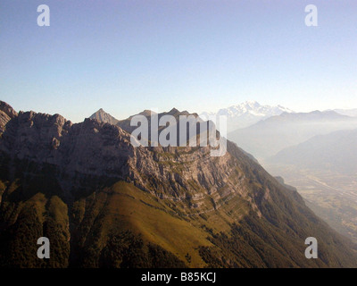 Bauges Massif, the Dent d'Arclusaz on the left, in summer - Stock Photo