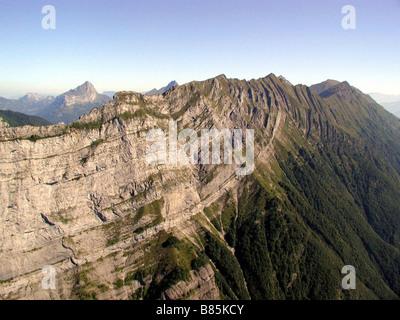 Bauges Massif in summer, east of the Dent d'Arclusaz - Stock Photo