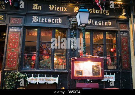 Wine and beer bar at dusk, Christmas time, Strasbourg, Alsace, France - Stock Photo