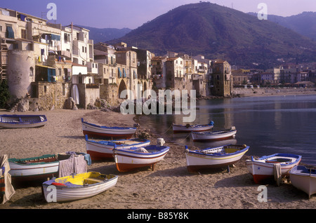 Fishing harbour and old city of Cefalu on the north Sicilian coast - Stock Photo