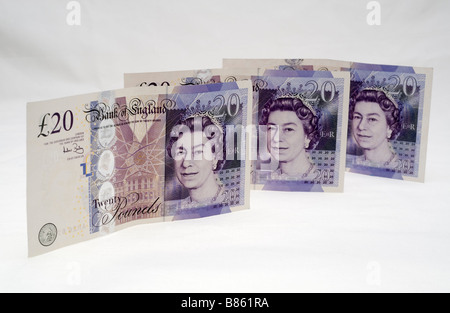 Bank of England three twenty pound notes.  Editorial use only - Stock Photo