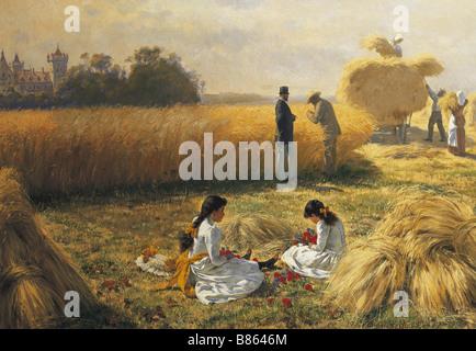Muller, Harvest Time on the Estate - Stock Photo