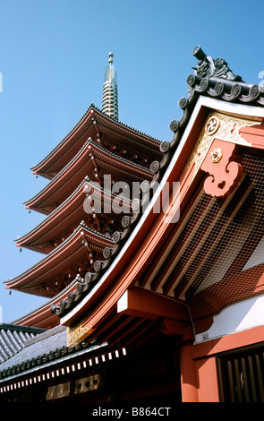 Nov 7, 2004 - View of the five storied pagoda (otarako) at Asakusa in the historic part of the Japanese capital - Stock Photo