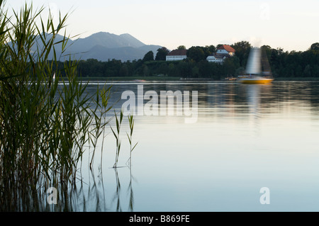 View of the Herren house on the island of Herr Herreninsel Lake chiem Chiemsee Upper Bavaria Gemany Europe 02 08 - Stock Photo