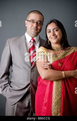 Portrait of a young East Indian couple - Stock Photo