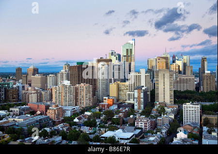Looking across the city of Sydney at dawn, Australia - Stock Photo