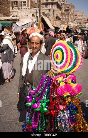 Market seller in Sanaa Yemen - Stock Photo