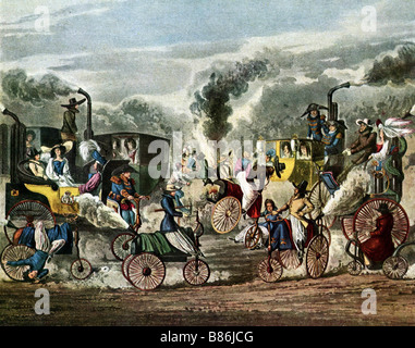 The progress of steam: a view of Regent's Park in 1831 - Stock Photo
