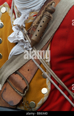 Close-up of the slow-match brass tube worn by a Grenadier at the 2008 re-enactment of the Battle of Prestonpans - Stock Photo